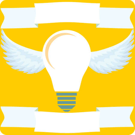 science icons: Creative idea vector illustration with lamp and wings. Modern vector design element on color background