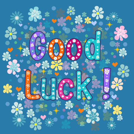 Good luck - greeting card . Vector stock illustration
