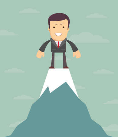 top of the world: Man on top of the world, business woman on top, vector illustration