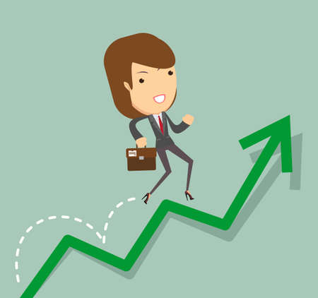 woman jump: business woman jump over growing chart. Vector