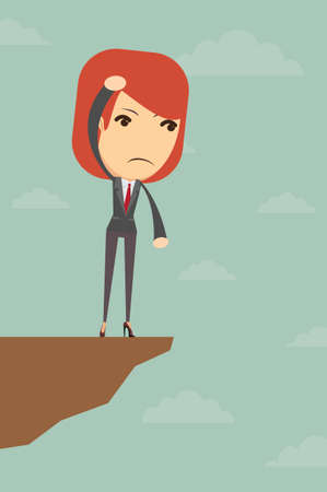 business woman standing: Business woman standing over the gorge at a loss, vector illustration