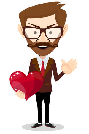 love symbols: The man gives love as the heart and makes a welcome sign hand, vector illustration Illustration