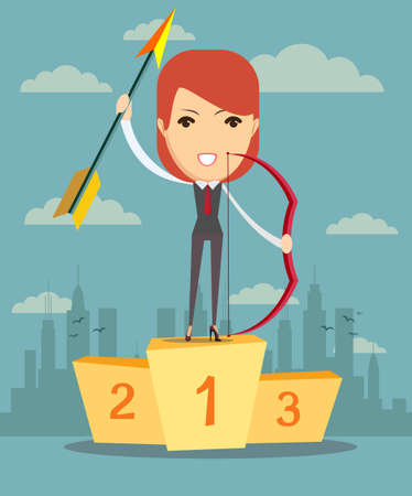 competitions: A woman has won in competitions in archery, vector illustration