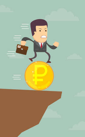 abyss: Businessman runs into the abyss on the coin, vector illustration Illustration