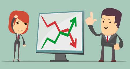 profit or loss: fácil de editar ilustración vectorial de gente de negocios con la flecha de pérdidas y ganancias