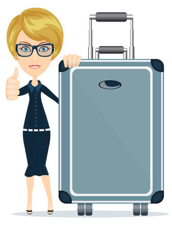 holdall: woman with big suitcase traveling and resting, vector illustration