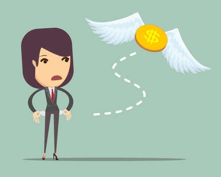 Business woman is losing money, and he flies to nowhere, vector illustration Illustration