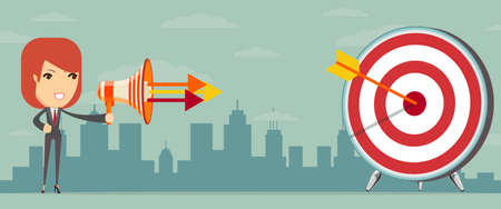 shooting target: Business woman shooting target from megaphone. Vector illustration