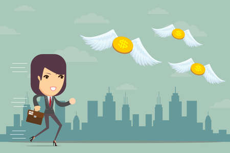 empty pocket: Business woman is losing money, and he flies to nowhere, vector illustration Illustration