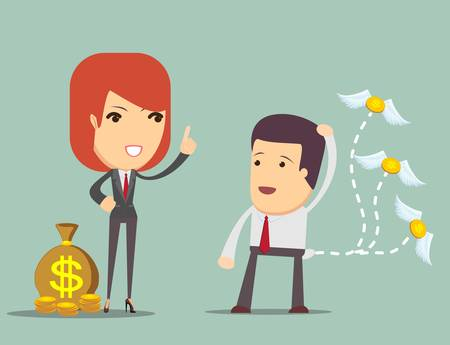 teaches: Business woman teaches a man who had lost the money, how to keep them, vector illustration