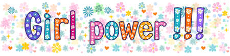 the concept of independence: Girl power  - Banner, greeting card . Vector stock illustration