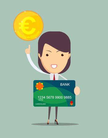 financial adviser: Closeup of a business woman keeps a credit card and points to the money, vector illustration Illustration