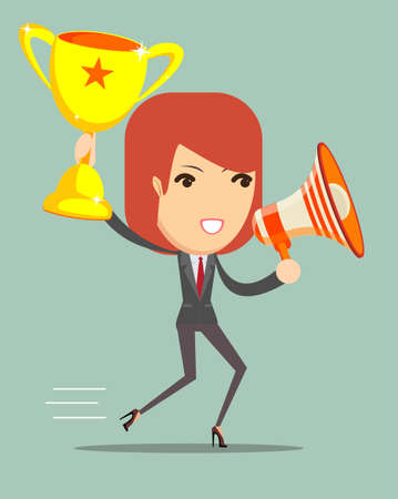 Vector illustration of cartoon business woman holding up winning trophy and talking into a megaphone Çizim