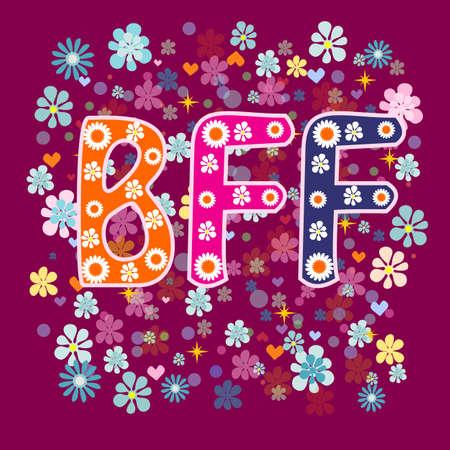 best friends forever: BFF - Best Friends Forever. Greeting card vector.