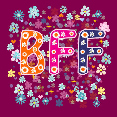 BFF - Best Friends Forever. Greeting card vector.