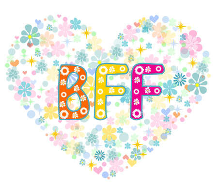 cute love: BFF. Best Friends Forever - heart shaped type lettering vector design. Greeting card Illustration