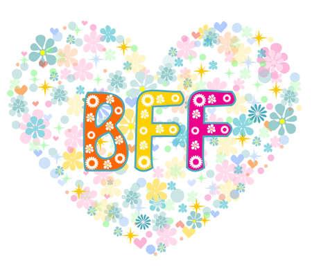 mejores amigas: BFF. Mejores amigos para siempre - en forma de coraz�n dise�o de tipo letras del vector. Tarjeta de felicitaci�n Vectores