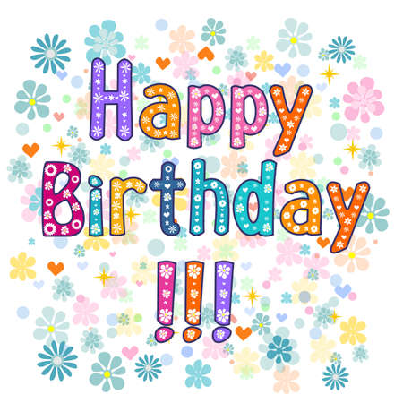 birthday cards: Happy Birthday greeting card illustration. Vector typography.