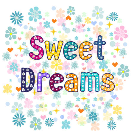 cartoon land: sweet dreams greeting card illustration. Vector typography.