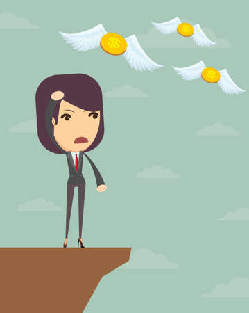 Business woman is losing money, and he flies to nowhere, vector illustration Ilustração
