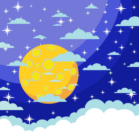 blue stars: Night background, Moon, Clouds and shining Stars on dark blue sky, illustration Illustration