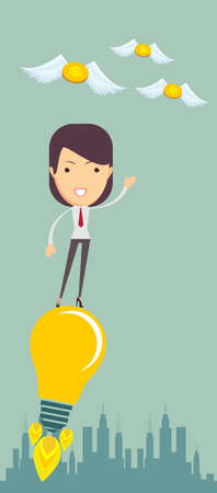 taking off: Business woman taking off on the light bulb, as the idea, vector illustration