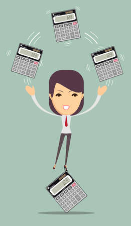 bookkeeper: Female accountant manages money and leads them count on a calculator, vector illustration Illustration