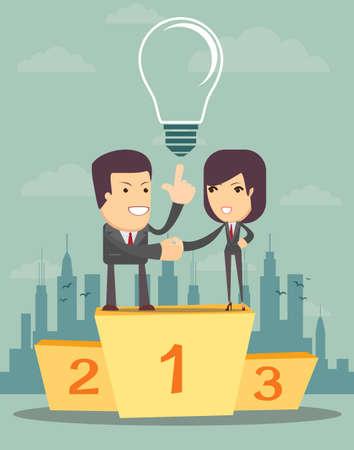 primer lugar: La gente de negocios en el podio en el primer lugar vienen a cooperar, ilustración vectorial Vectores