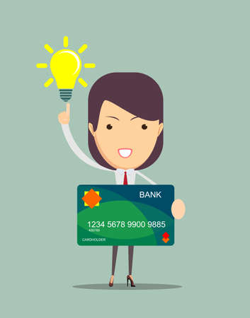 keeps: Closeup of a business woman keeps a credit card, vector illustration