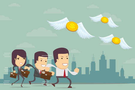 Business people running after flying money, vector illustration