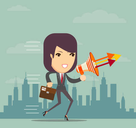 women talking: Vector illustration of dark-haired cartoon business woman talking into a megaphone Illustration