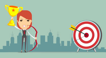 accuracy: Abstract Businesswoman Hits the Sales Target. Vector illustration of Businesswoman hitting the corporate Sales Charts with a bow and arrow. Woman holding up winning trophy