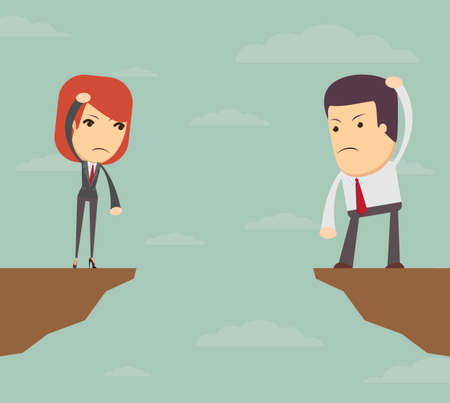 Business woman and man standing over the gorge at a loss, vector illustration Illustration