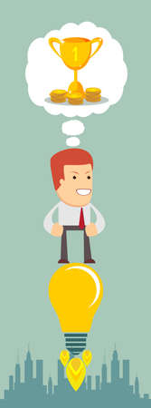 flying man: Business man flying on a light bulb, think about the golden prize for the championship cup, vector illustration