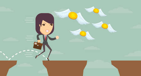 precipice: Business Pretty woman jumping over a precipice of money and trying to catch up with them, vector illustration