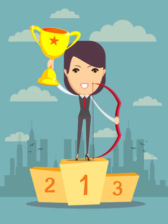 recompense: illustration of businessman proudly standing on the winning podium holding up winning trophy and bow. Flat style