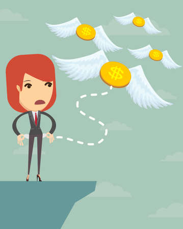 Business woman is losing money, and he flies to nowhere, illustration