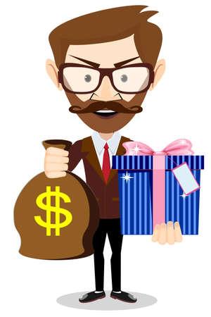 Le jeune homme donne un sac avec des dollars et un cadeau, illustration