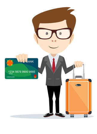 pay for: Business man going on vacation and will pay for all bank card, illustration Illustration