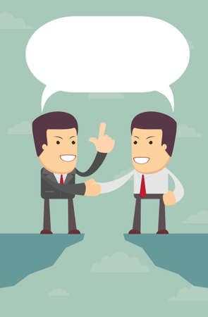 negotiate: Business people were able to negotiate the gap, vector illustration