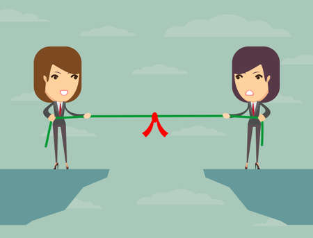 Business people pull the rope over the abyss, someone who, business concept