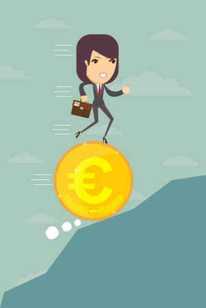optimistic: Business woman running on a coin with the euro symbol is optimistic ahead, vector illustration