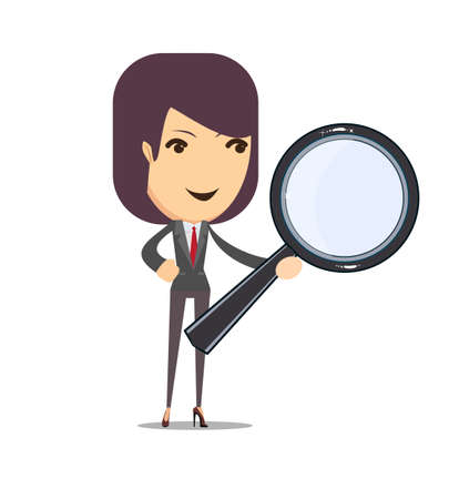 observer: Business woman on a white background with a magnifier to find, vector illustration