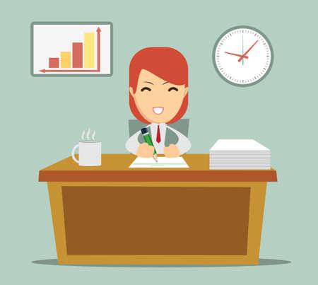 cansancio: oficina trabajador sentado en la mesa y trabajar con alegría, sin cansancio, ilustración vectorial Vectores