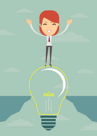proclaim: Businesswoman on a bulb cross an abyss - the idea of a businessman helped to bridge the gap. illustration.