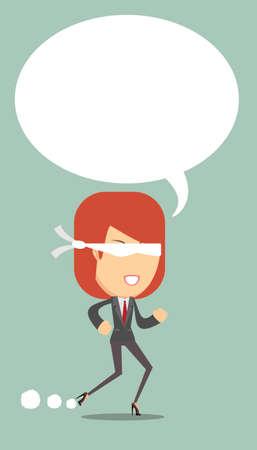 ojos vendados: Mujer con los ojos vendados se ejecuta constantemente hacia adelante, sin miedo a caer, la ilustraci�n