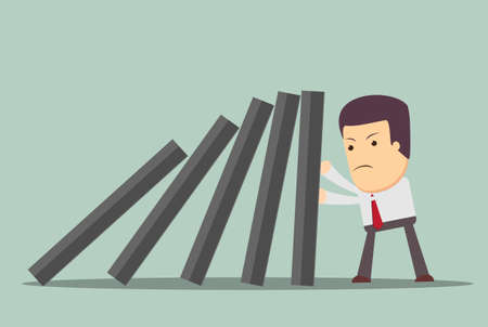 domino effect: Business man supports domino from falling, supporting the concept of business. Illustration