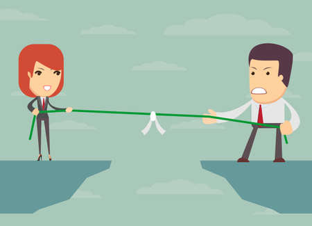'pull over': Business people pull the rope over the abyss, someone who, business concept, illustration