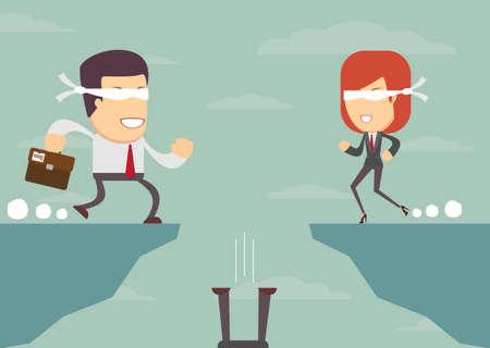 Business mensen blindelings te gaan en vertrouwen op de leider, terwijl vallen in de afgrond, illustratie