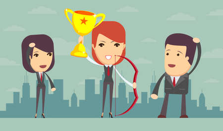 recompense: illustration of business woman proudly standing , holding up winning trophy and bow. Flat style Illustration